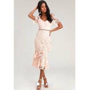 Lulus Blush Lace Dress